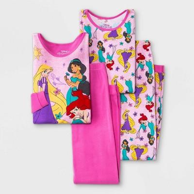 Girls' Disney Princess 4pc Pajama Set - Pink