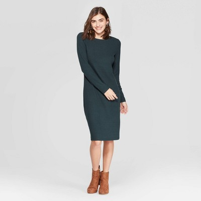 Women's Long Sleeve Crewneck Rib Knit Dress   A New Day by A New Day