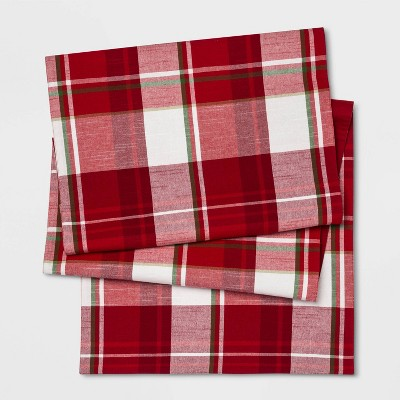 Holiday Plaid Rectangle Table Runner Red - Threshold™