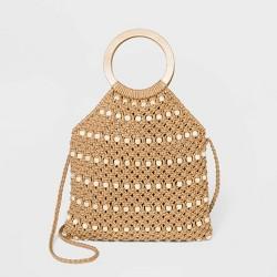 VR NYC Beaded Crochet Top Wood Ring Hobo Handbag - Beige
