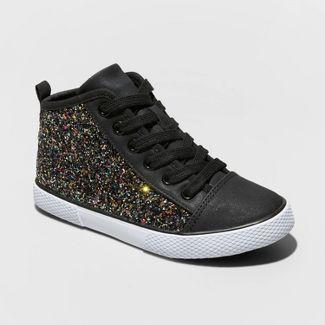 Girls' Zandra Glitter Mid Top Sneakers - Cat & Jack™ Black 3