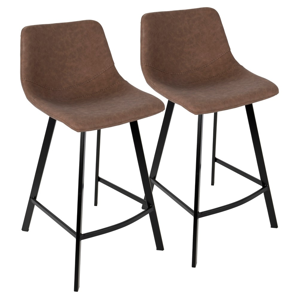 Outlaw Industrial 26 In Counter Stool - Brown (Set of 2) Lumisource