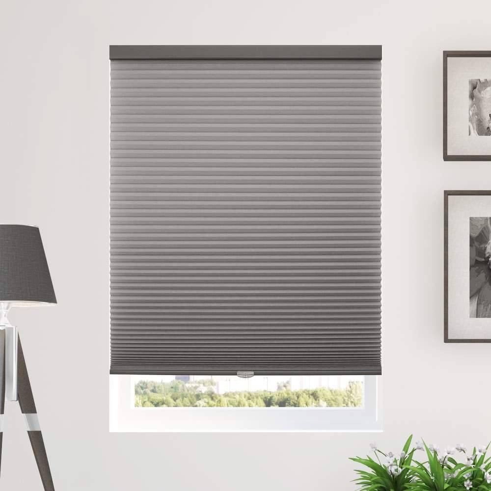 "Image of ""46""""x48"""" Cordless Light Filtering Cellular Window Shade Dark Gray - Chicology"""