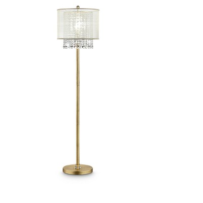 """65"""" Antique Metal Floor Lamp with Crystals Gold - Ore International"""