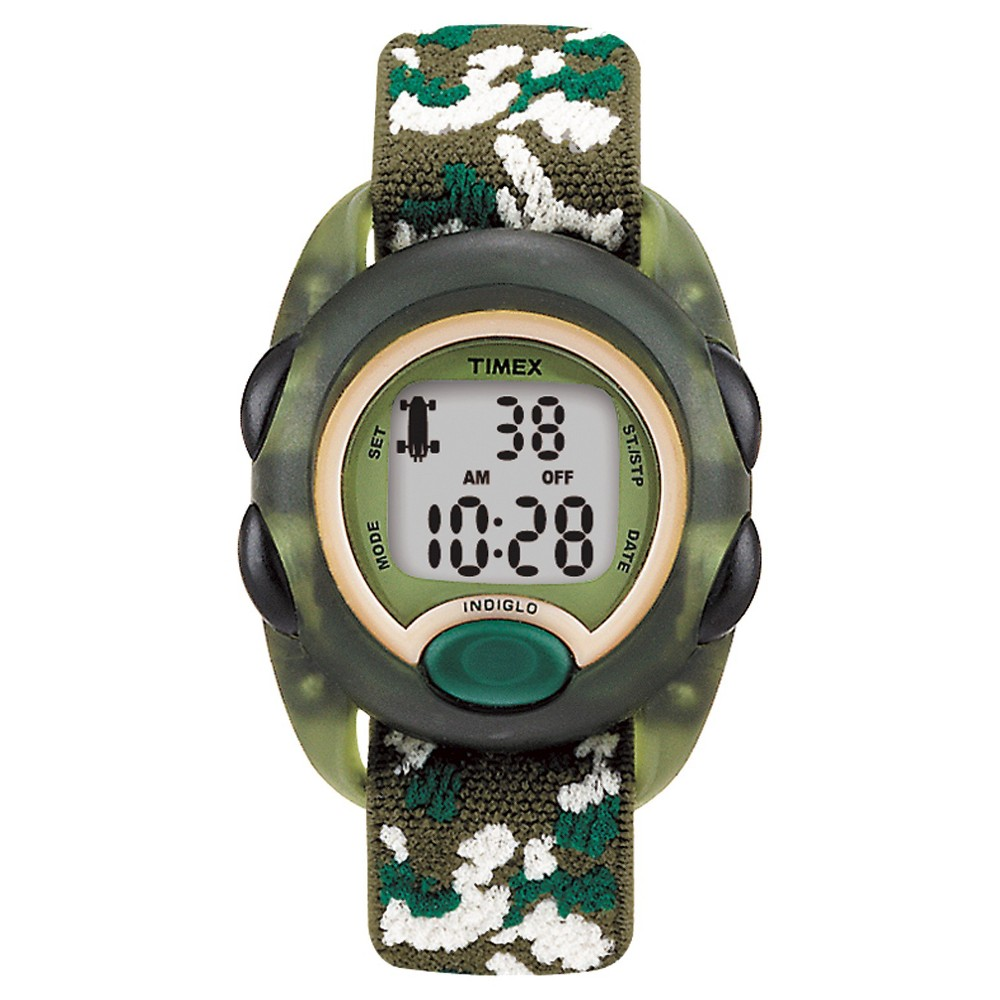 Image of Kid's Timex Digital Watch with Camouflage Strap - Green T71912XY, Adult Unisex, Size: Small