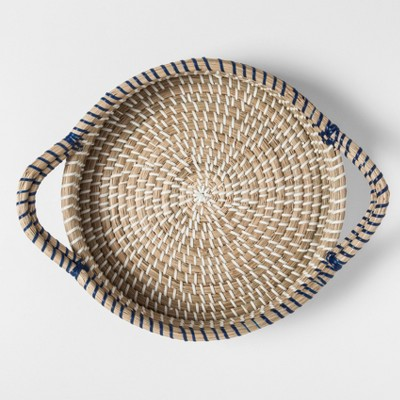 Round Natural Rattan Serving Tray with Handles 10in Blue - Threshold™