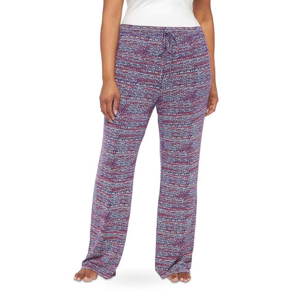 Women's Plus Size Fluid Knit Sleep Pants - Quiet Blue Print 2X