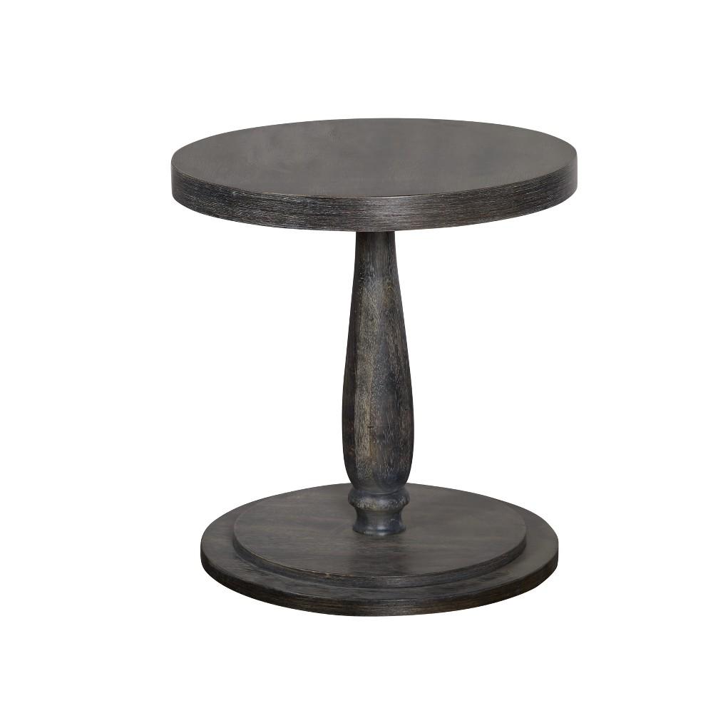 Image of Lifestorey Avignon Burntwood Round End Table Weathered Gray - Lifestorey
