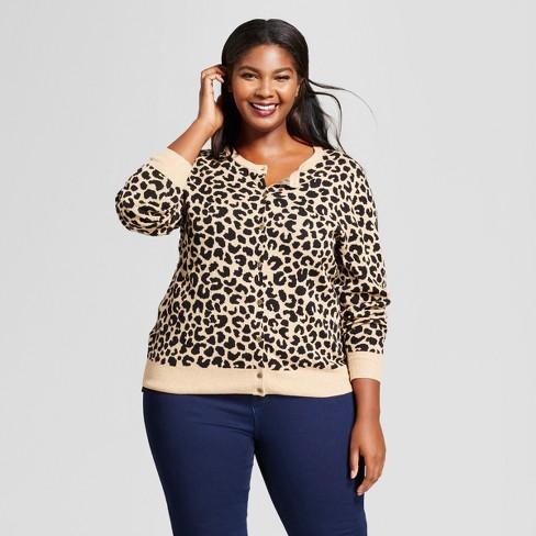 e8a435da9dae Women's Plus Size Animal Print Any Day Cardigan - A New Day™ Tan/Black 4X :  Target