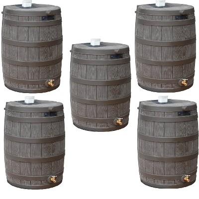 Good Ideas Rain Wizard 50 Gallon Plastic Rain Barrel with Brass Spigot (5 Pack)