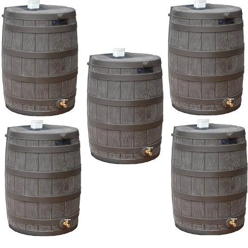 Good Ideas Rain Wizard 50 Gallon Plastic Rain Barrel with Brass Spigot (5 Pack) - image 1 of 4