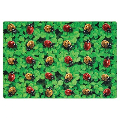 6'x9' Rectangle Indoor and Outdoor Woven Ladybug Nylon Accent Rug Multicolored,Green - Carpets For Kids