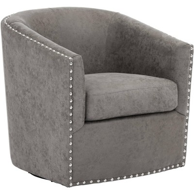 Studio 55D Fullerton Gray Swivel Accent Chair