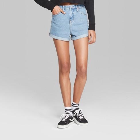 986573be99f Women s High-Rise Rolled Cuff Denim Shorts - Wild...   Target