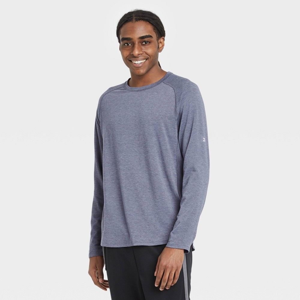 Men 39 S Long Sleeve Run T Shirt All In Motion 8482 Navy M