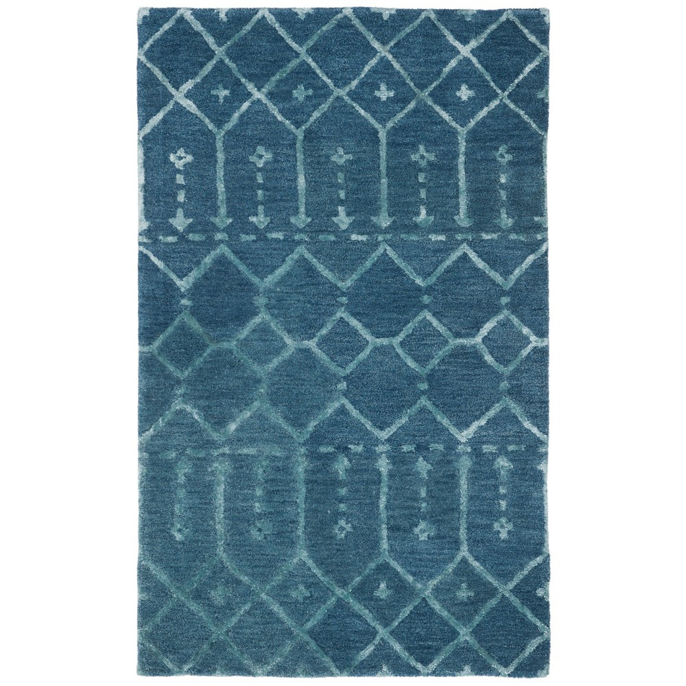 3'X5' Tribal Design Tufted Accent Rug Navy/Silver (Blue/Silver) - Safavieh