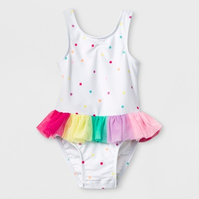 Baby Girls' One Piece Swimsuit with Tutu and Bow Back - Cat & Jack™ White 9M