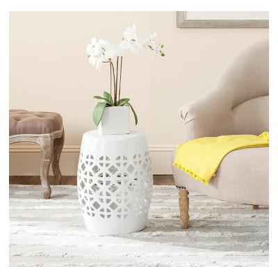 Charmant White Circle Lattice Garden Stool   White   Safavieh®