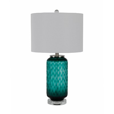 Art Glass Table Lamp with Crystal Base Frosted Emerald - Decor Therapy