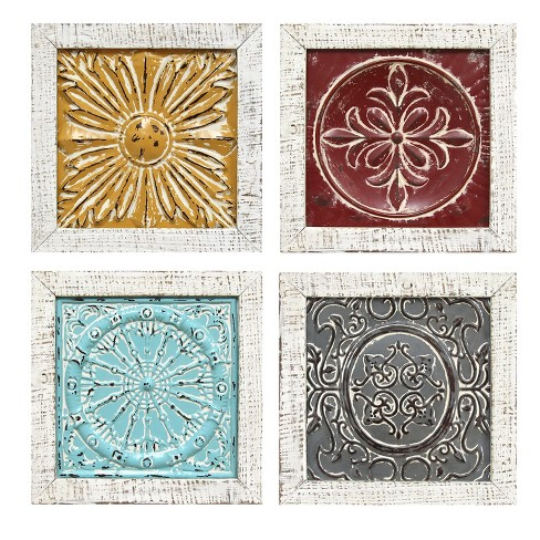 """Stratton Home Decor 12""""x12"""" (Set of 4) Accent Tile Wall Art Decorative Wall Art Set - image 1 of 3"""