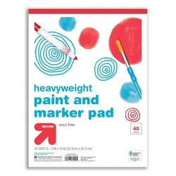 "9"" x 12"" 40 Sheets Heavyweight Paint and Marker Pad White - Up&Up™"