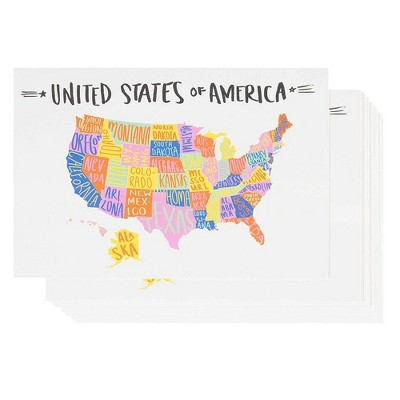 Sustainable Greetings 40-Pack U.S. Map Travel Postcards with 50 States, United States USA Post Cards 4x6 in