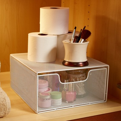 Lakeside Cabinet or Bathroom Storage Organizer with Pull-Out Basket