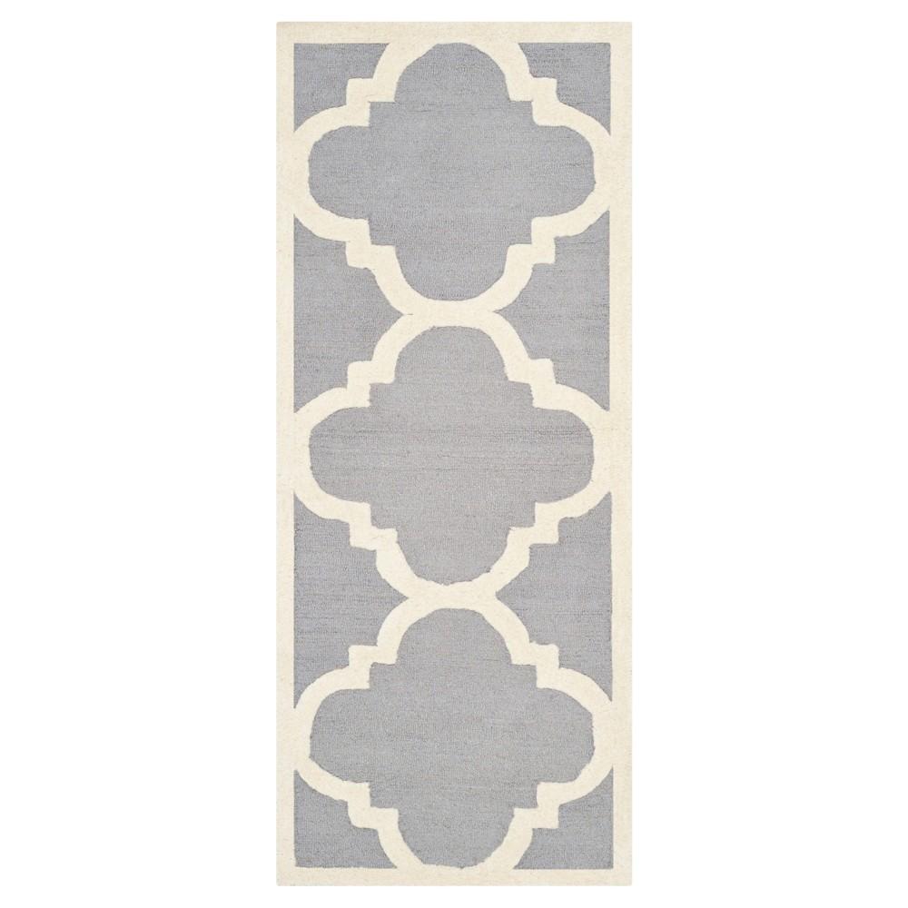 Landon Texture Wool Rug - Silver / Ivory (2'6 X 22' Runner) - Safavieh, Silver/Ivory