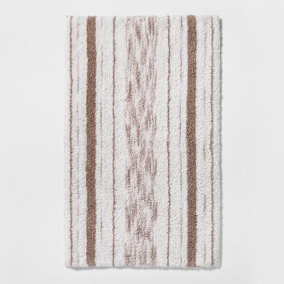 Striped Accent Bath Rug Beige Linen - Threshold™