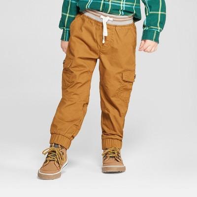 Toddler Boys' Rib Waist Cargo Jogger - Cat & Jack™ Brown 12M