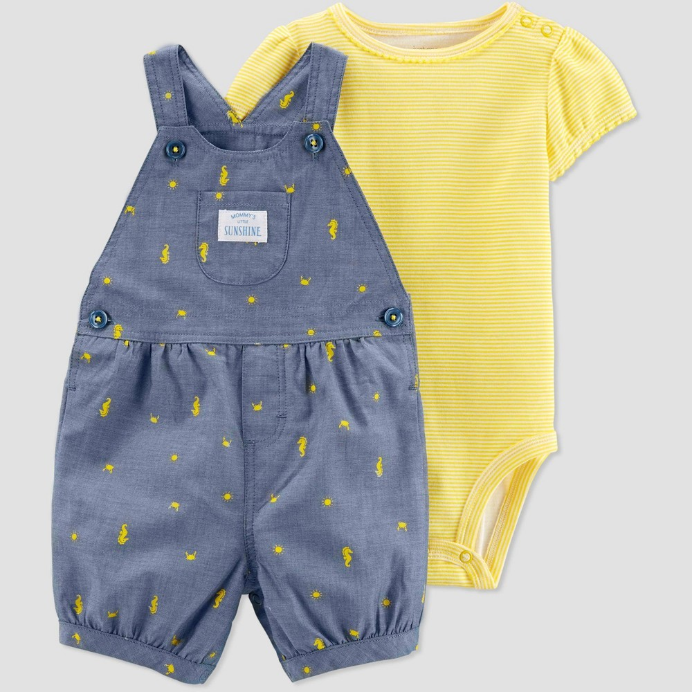 aa4354469 Baby Girls 2pc Sea Horse Print Shortall Set Just One You made by carters  YellowBlue Newborn