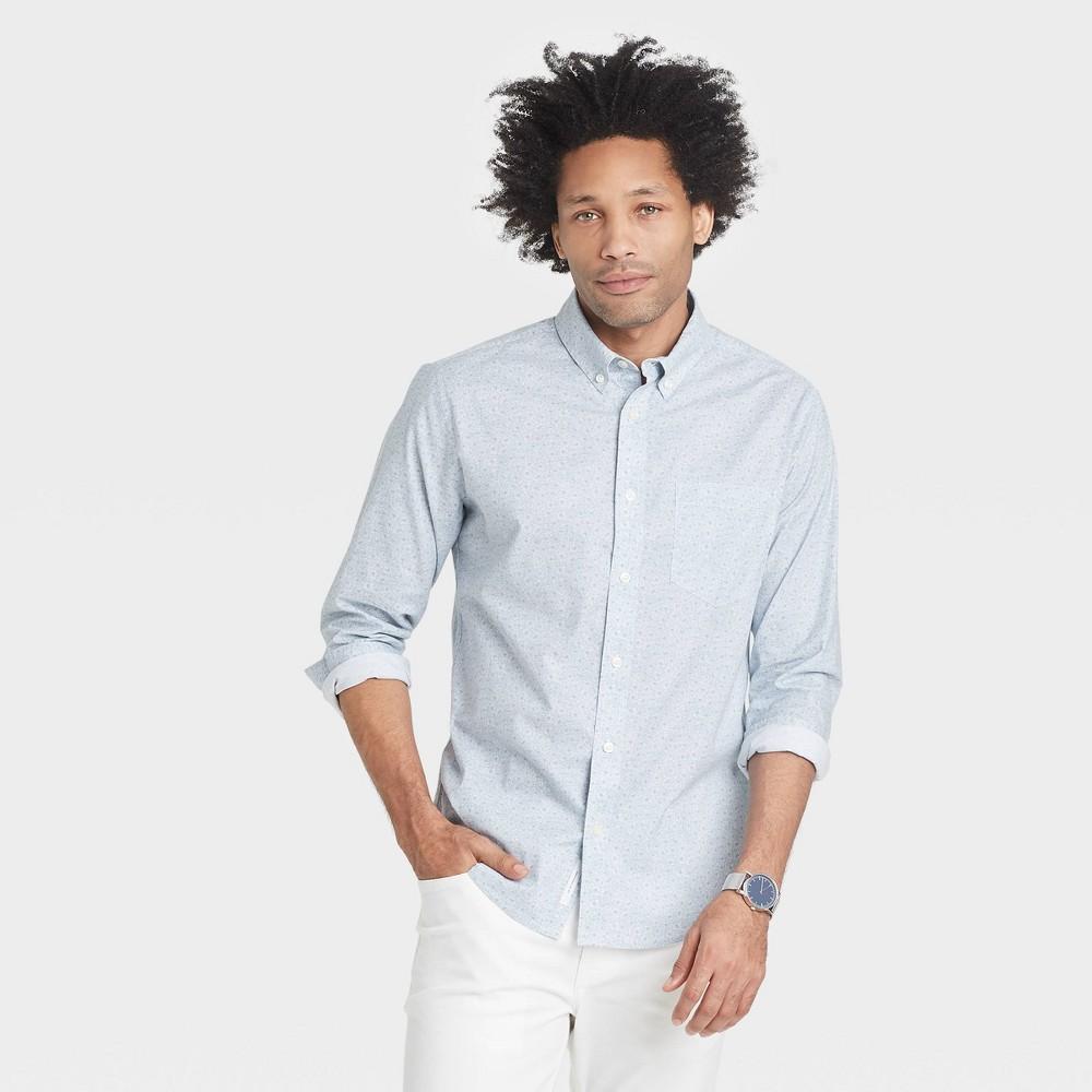 Men 39 S Floral Print Regular Fit Stretch Poplin Long Sleeve Button Down Shirt Goodfellow 38 Co 8482 Masonry Gray Floral 2xl