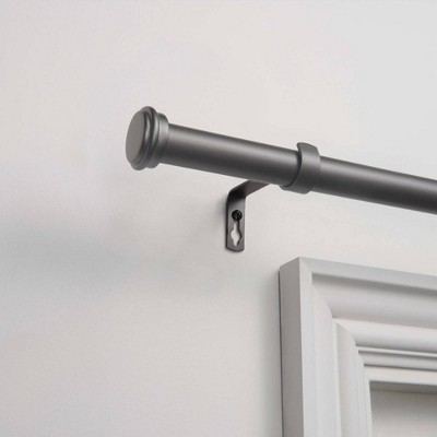 36 x72  Adjustable Topper 1  Curtain Rod and Coordinating Finial Set Gunmetal - Exclusive Home