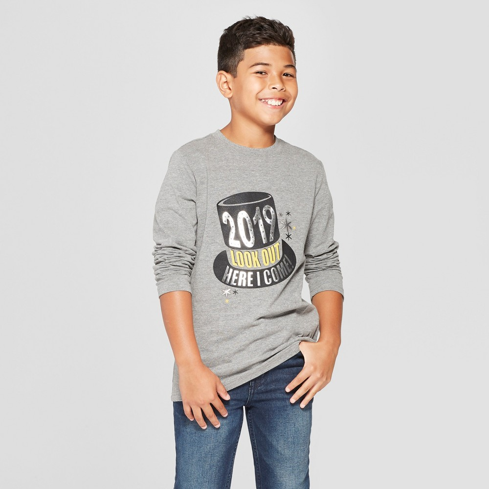Boys' New Years Long Sleeve Graphic T-Shirt - Cat & Jack Gray S, Black