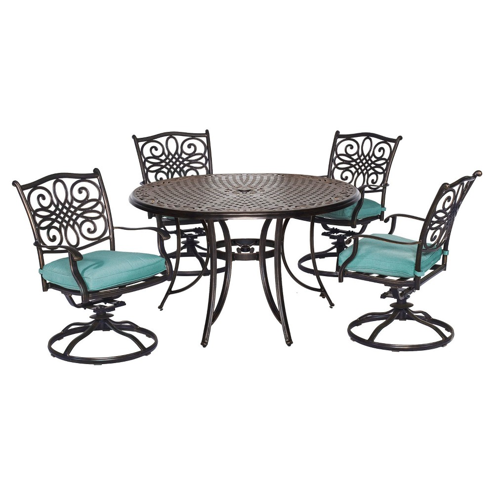 Seasons 5pc Round Metal Patio Dining Set with Four Swivel Rockers - Blue - Hanover