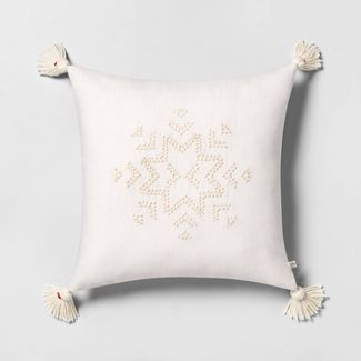 Snowflake Embroidered Toss Pillow Tonal Cream with Tassels - Hearth & Hand™ with Magnolia