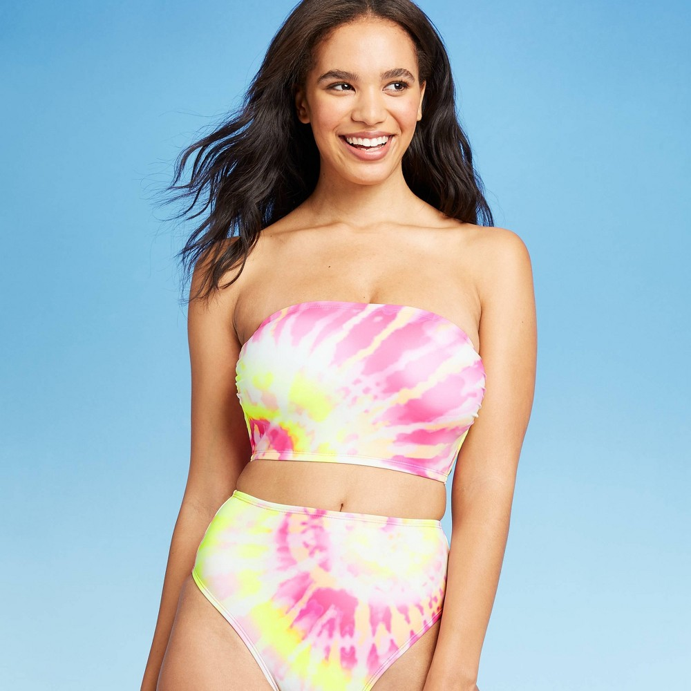 Image of Women's Bandeau Crop Bikini Top - Xhilaration Pink Tie-Dye Print D/DD Cup, Women's
