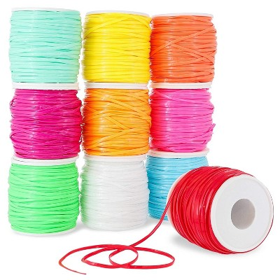 Juvale 10 Pack Plastic Bracelet String for Jewelry Making, 10 Pastel Spools (2.5 mm, 50 Yards)