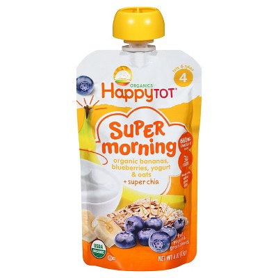HappyTot Super Morning Organic Bananas Blueberries Yogurt & Oats with Super Chia Baby Food Pouch - 4oz