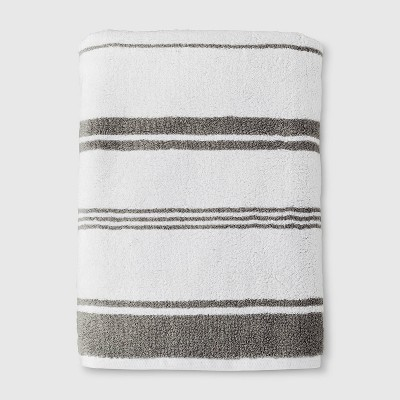 Performance Texture Bath Sheet Gray Stripe - Threshold™
