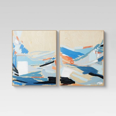 """(Set of 2)16"""" x 20"""" Colorful Abstract On Wood Decorative Wall Art - Project 62™"""