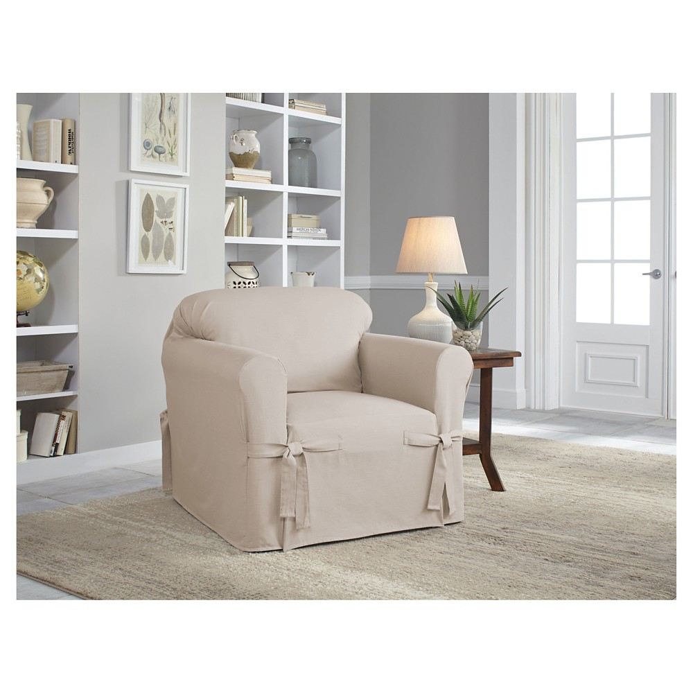 Khaki (Green) Relaxed Fit Duck Furniture Chair Slipcover - Serta