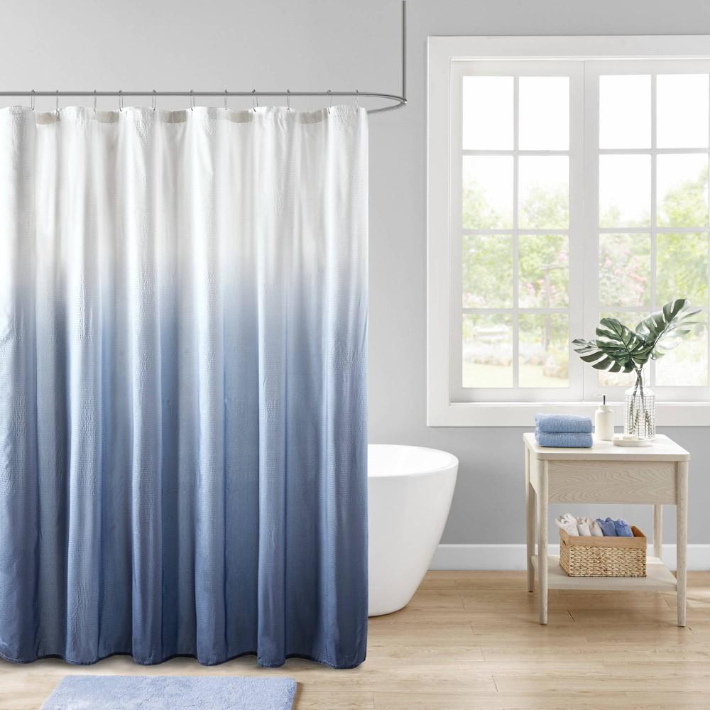 Maris Ombre Printed Seersucker Shower Curtain Blue