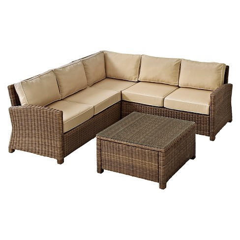 Crosley Bradenton 4 Piece Outdoor Wicker Sectional Seating Set With