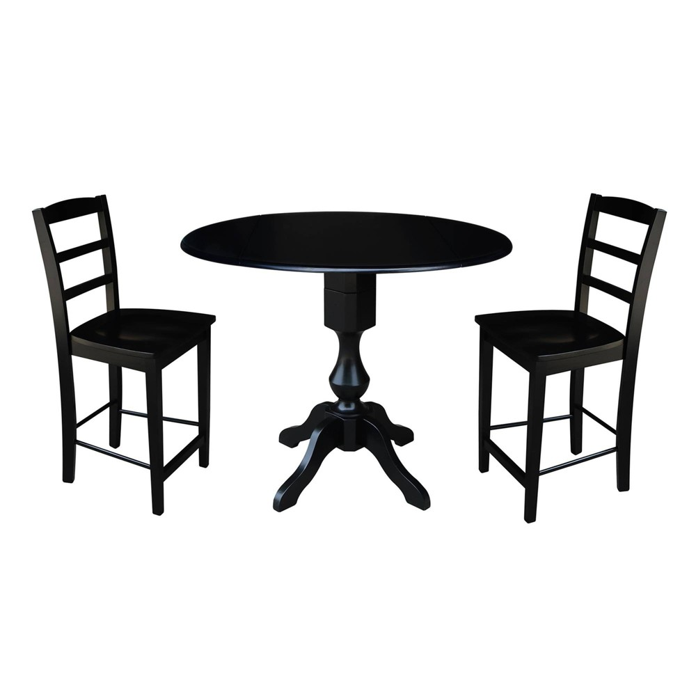 "Image of ""36.3"""" Round Pedestal Gathering Height Table with 2 Counter Height Stools Black - International Concepts"""