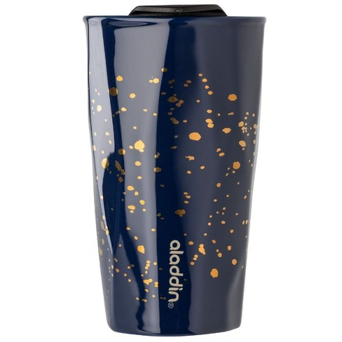 Aladdin 10oz Ceramic Mug - Double Wall with Press Fit Lid - Navy Blue and Gold - image 1 of 3