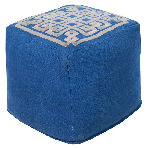 Geometric Top Cube Pouf - Surya - image 1 of 1