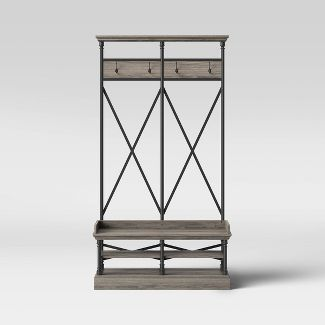 Conway Wood Entryway Hall Tree with Cast Iron Frame Gray - Threshold™