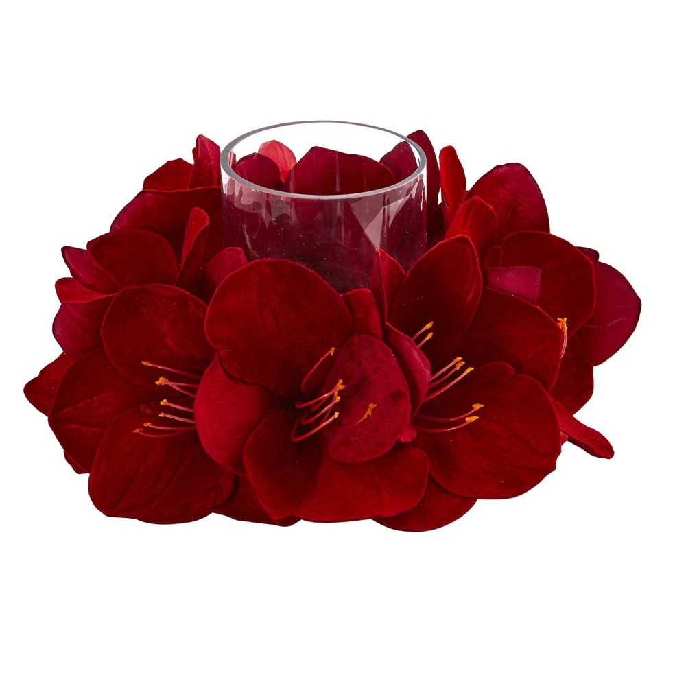 "Image of ""12"""" Artificial Amaryllis Candle Holder Wreath Red - Nearly Natural"""