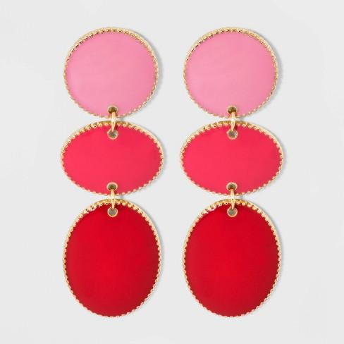 SUGARFIX by BaubleBar Tiered Enamel Drop Earrings - Magenta Pink - image 1 of 3